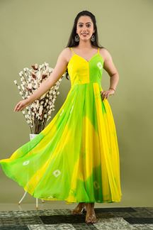Picture of Yellow & Green Colored Tie & Die Kurti Set