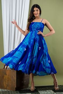 Picture of Bright Blue Colored Tie & Die Kurti Set