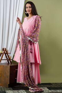 Picture of Baby Pink  Colored Hand Block Print Kurti Set