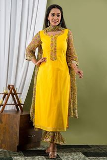 Picture of Yellow Colored Hand Block Print Kurti Set