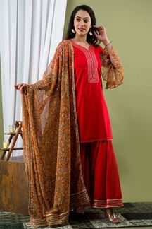 Picture of Bright Red Color Palazzo Style Kurti In Cotton