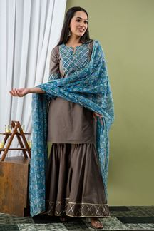 Picture of Grey Color Palazzo Style Kurti In Cotton