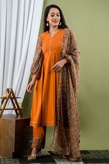 Picture of Rust  Color Pant Style Kurti Made In Cotton Fabric