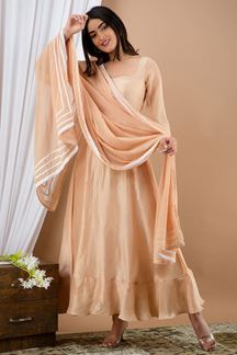 Picture of Nude Brown Color Kurti Set With Dupatta