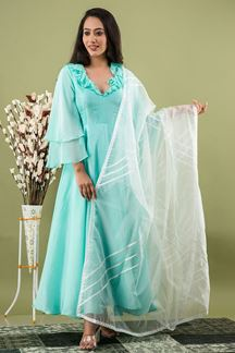 Picture of Sea Green Indo Western Kurti Set With Duaptta