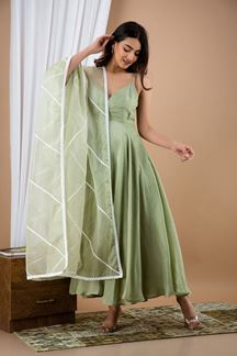 Picture of Olive Colored Russian Silk Partywear kurti with Dupatta