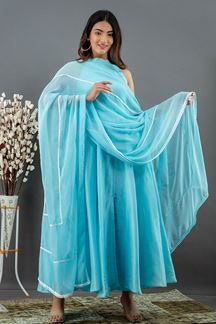 Picture of Sky blue Colored Russian Silk Partywear kurti with Dupatta
