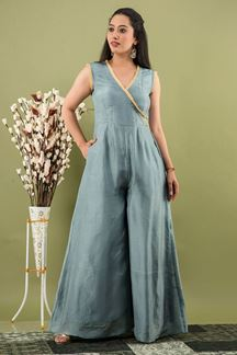Picture of Grey Colored Russian Silk Partywear kurti