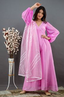 Picture of Pink Colored Russian Silk Partywear Jumpsuit