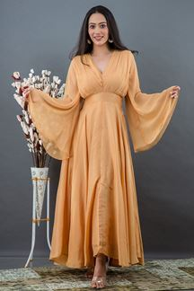 Picture of Skin Colored Russian Silk Partywear kurti