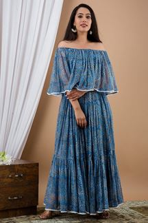 Picture of Beautiful Ink Blue Color Kurti In Chiffon