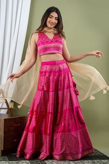 Picture of Rani Colored Indo Western Style Crop Top With Skirt