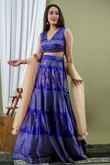 Picture of Blue Colored Indo Western Style Satin Crop Top With Skirt