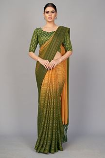 Picture of Green Colored Designer Party Wear Bangalore Silk Saree