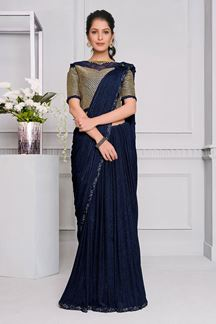 Picture of Latest Blue Colored  Fancy Designer Party Wear Saree