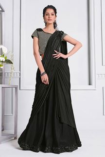 Picture of Black Colored  Latest Fancy Designer Party Wear Saree