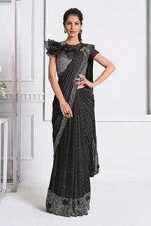 Picture of Latest Grey Colored  Fancy Designer Party Wear Saree