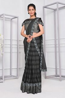 Picture of Grey Colored Latest Fancy Designer Party Wear Saree