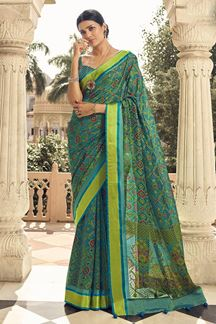 Picture of Elegant Blue Designer Party Wear Brasso Patola Style Saree