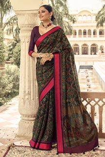 Picture of Black Designer Party Wear Brasso Patola Style Saree
