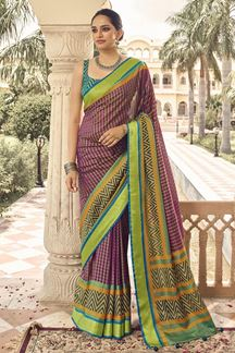Picture of Exceptional Multi-Colored Designer Party Wear Brasso Patola Style Saree