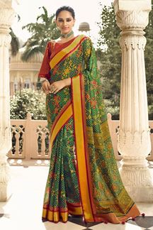 Picture of Gorgeous Green & Mustard Designer Party Wear Brasso Patola Style Saree