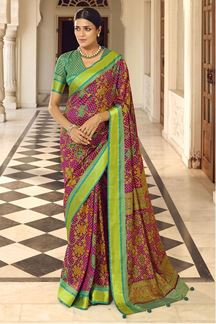 Picture of Purple & Green Colored  Designer Party Wear Brasso Patola Style Saree