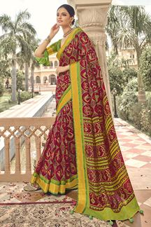 Picture of Simplicity  Multi-color Designer Party Wear Brasso Patola Style Saree