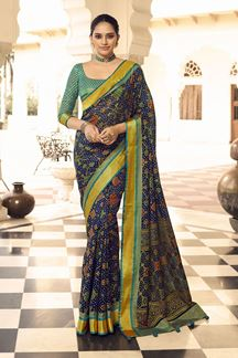 Picture of Smashing  Blue Colored  Designer Party Wear Brasso Patola Style Saree