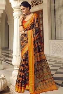 Picture of Charming Brown & Orange Designer Party Wear Brasso Patola Style Saree