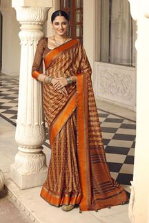 Picture of Beautiful Brown Colored Designer Party Wear Brasso Patola Style Saree