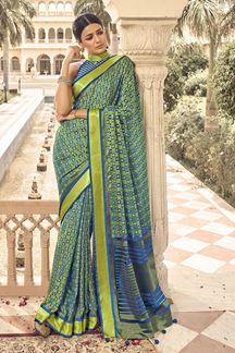 Picture of Sensational Blue Colored Designer Party Wear Brasso Patola Style Saree