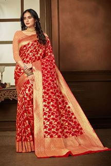 Picture of Stylized Red Colored Weaving Silk Saree