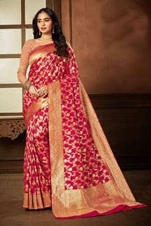 Picture of Trendy Pink Colored Weaving Silk Saree
