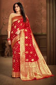 Picture of Charming Red Colored Weaving Silk Saree