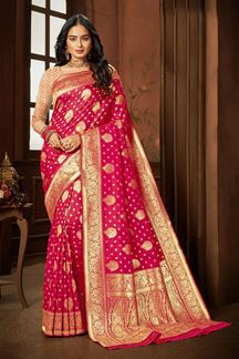 Picture of Ethnic Pink  Colored Weaving Silk Saree