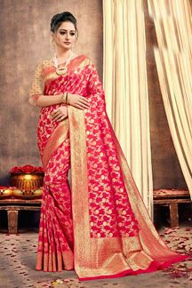 Picture of Fantastic Pink Colored Traditional Silk Saree