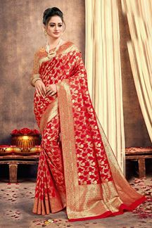 Picture of Elegant Red Colored Traditional Silk Saree