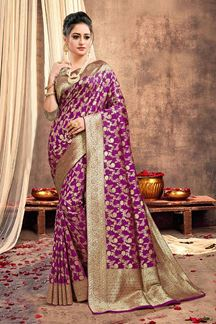 Picture of Stunning Purple Colored Traditional Silk Saree