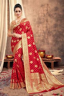Picture of Splendor Red Colored Traditional Silk Saree