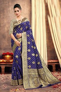 Picture of Blue Colored Traditional Silk Saree