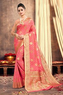 Picture of Fantastic Light Pink Colored Traditional Silk Saree