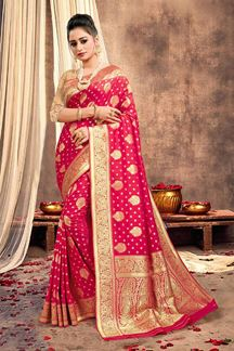 Picture of Smashing Rani Pink Colored Traditional Silk Saree