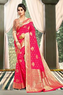 Picture of Jazzy Pink Colored Weaving Silk Designer Saree