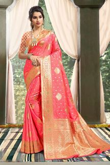 Picture of Beautiful Light Pink Colored Weaving Designer Saree