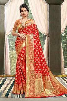 Picture of Glorious Red Colored Party Wear Weaving Saree