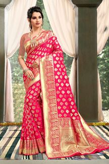 Picture of Energetic Pink Colored Weaving Saree
