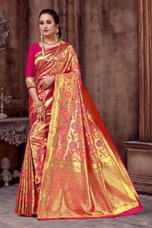 Picture of Dashing Pink Colored Saree With Zari Work