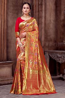 Picture of Beautiful Red Colored Silk Saree With Border