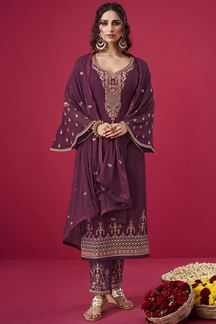 Picture of Flamboyant Wine Colored Party wear Georgette Suit (Unstitched suit)